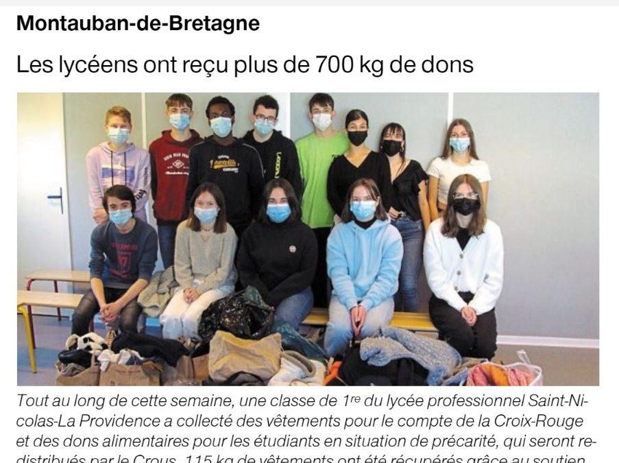 Montauban de Bretagne – Mobilisation des lycéens avec la Croix Rouge